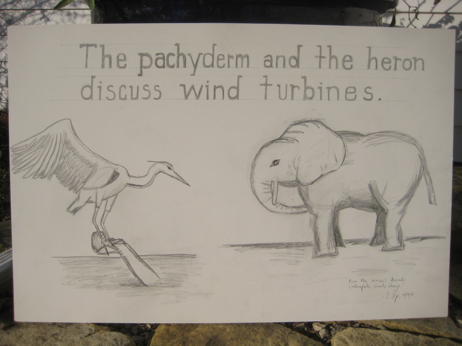 "'The pachyderm and the heron discuss wind turbines.'  19"" x 29"" from the series: 'Animals contemplate climate change.'  Christopher Shoup.  2013."