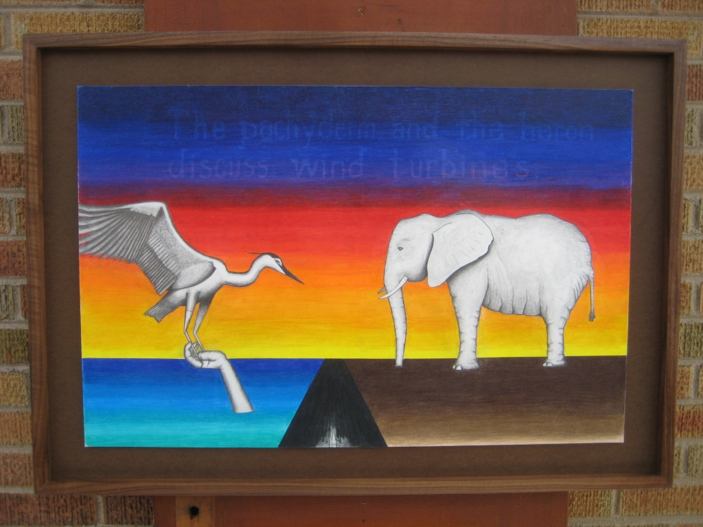 The pachyderm and the heron discuss wind turbines.  24 inches by 36 inches.  Christopher Shoup.  2014.